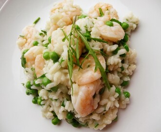 Prawn, pea and rocket risotto