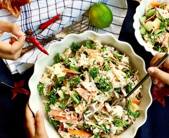 Swede, raw broccolini and roast chicken salad