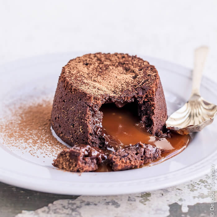 Chocolate Fondant Recipe with Salted Caramel Filling {gluten-free + dairy-free}