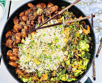 Teriyaki chicken, egg fried rice with vegetables
