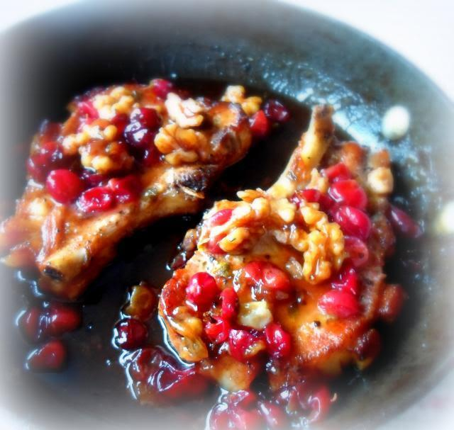 Pork Chops with a Gooseberry, Honey and Walnut Sauce