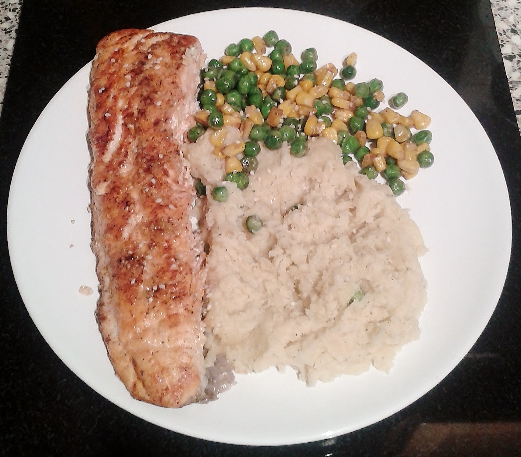 Seared Salmon with Mashed Potato and Vegetables - Recipe