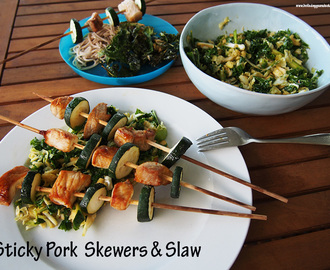 Sticky Pork & Zucchini Skewers with Miso Slaw