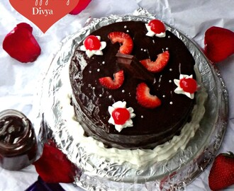 Eggless Dark chocolate cake with chocolate ganache frosting (Pressure cooker cake ) - Virtual party for Divya pramil