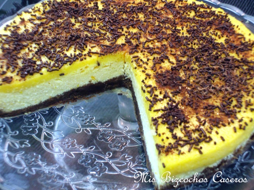 Tarta de queso de naranja y chocolate