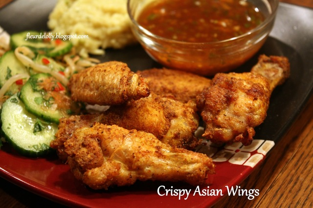 Crispy Asian Wings with sweet-hot sauce served with Cool Cucumber Salad