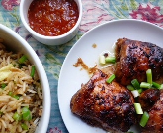 greet the new year and encounter happiness: honey and ginger roasted chicken thighs for Chinese New Year
