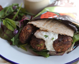 Meatball-Stuffed Pittas with Tzatziki