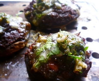 stuffed mushrooms with lentils, bacon, parsley pesto and Stilton