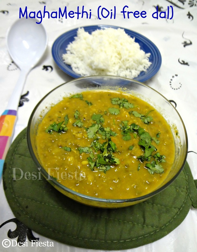 Magamethi/ Whole green moong dhal Curry (Oil Free Dal)