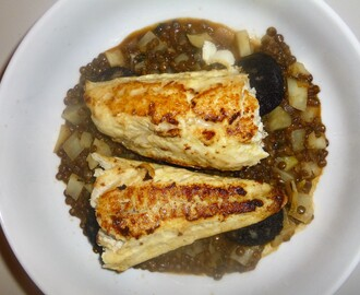 Pan Fried Gurnard on a Black Pudding, Fennel and Lentil Stew Recipe