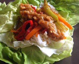 Lettuce Wraps with Spicy Peanut Sauce