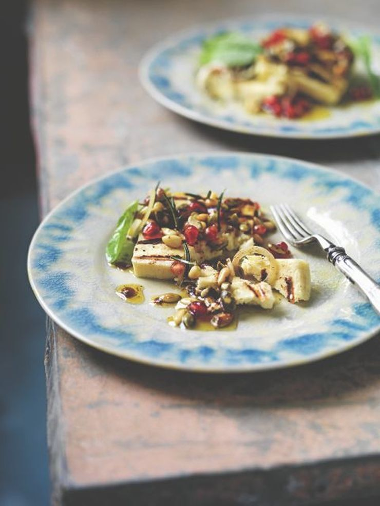 Grilled haloumi with soumac and pomegranate dressing