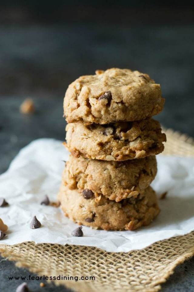 Yummy Gluten Free Peanut Butter Oatmeal Chip Cookies