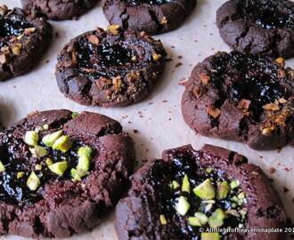 Chocolate and blackcurrant thumbprint biscuits - recipe