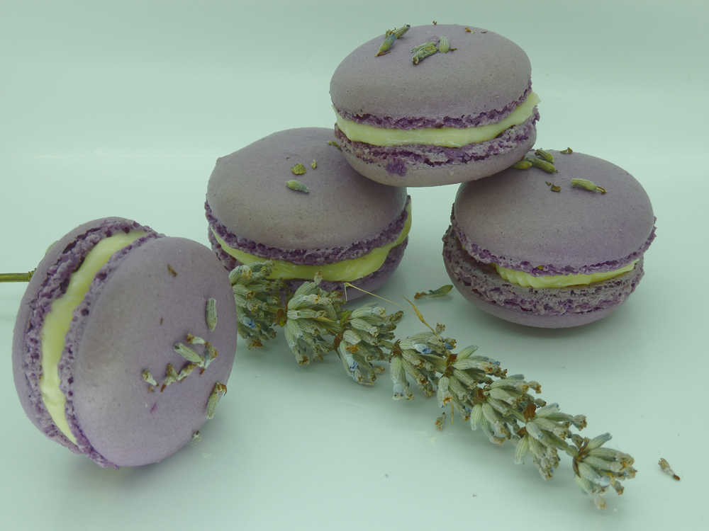 Lavender Macarons with White Chocolate Ganache