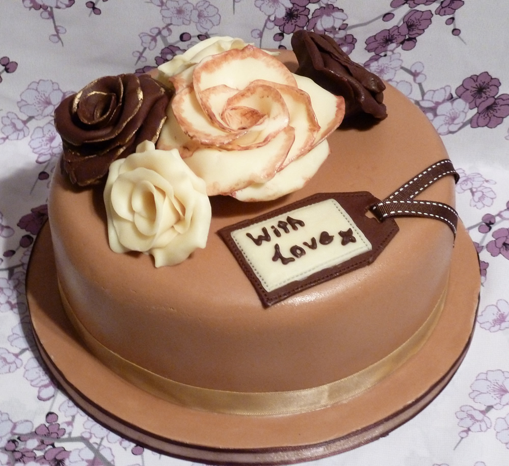 My First Large, Fondant Covered Cake (with Chocolate Roses)
