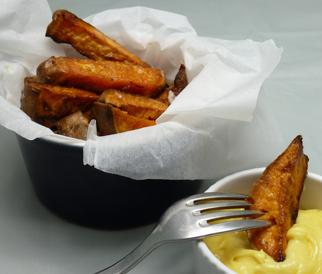 Sweet Potato Fries and Homemade Mayonnaise