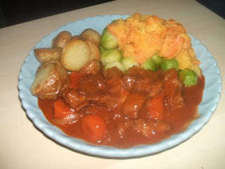 Lamb and Red Wine Stew with Roasted New Potatoes