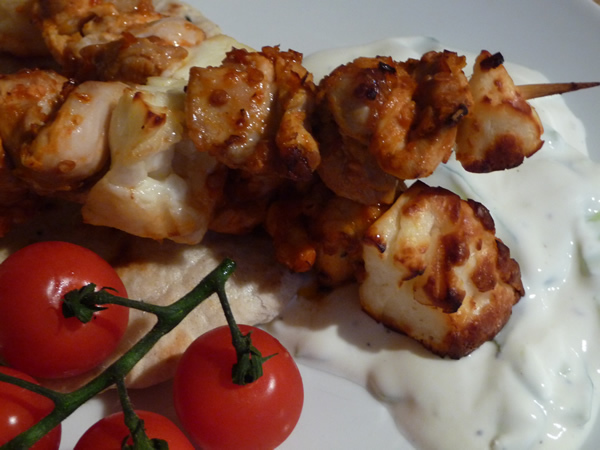 Piri Piri Lemon Chicken & Halloumi Kebabs with Homemade Flatbread