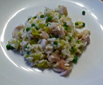 Smoked haddock, leek and pea risotto , using DelishFish