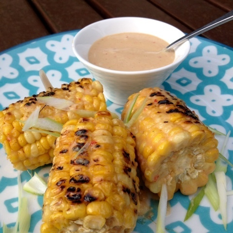 Char Grilled Sweet Corn with Miso and Chilli Mayonnaise