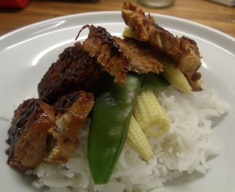 Still indulging my fondness for the Orient, express style! - Glazed Pork Fillet with steamed rice and stir fry vegetables