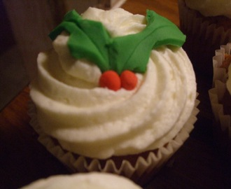 Cooking like a star for Finn's Christmas Fair. Martha Stewart's Vanilla Cupcakes with a Christmas Twist