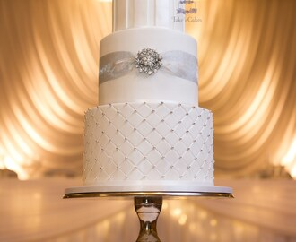 Elegant Silver and White Wedding cake