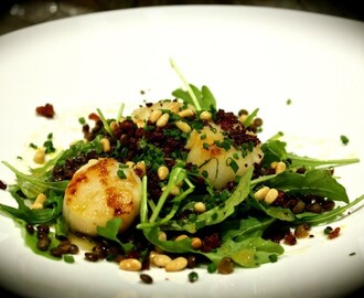 French Lentil & Scallop Salad with Chorizo Crumbs