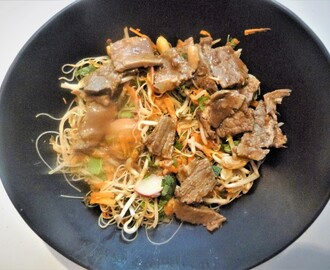 Tamarind Left Over Beef Noodle Salad with an Indonesian Dressing Recipe