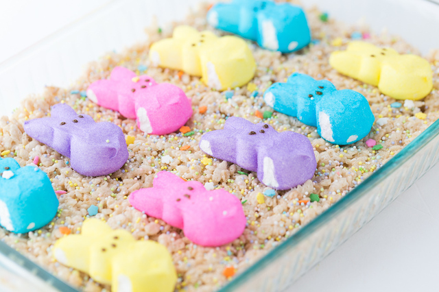Easter Rice Krispie Treats with Bunny Peeps