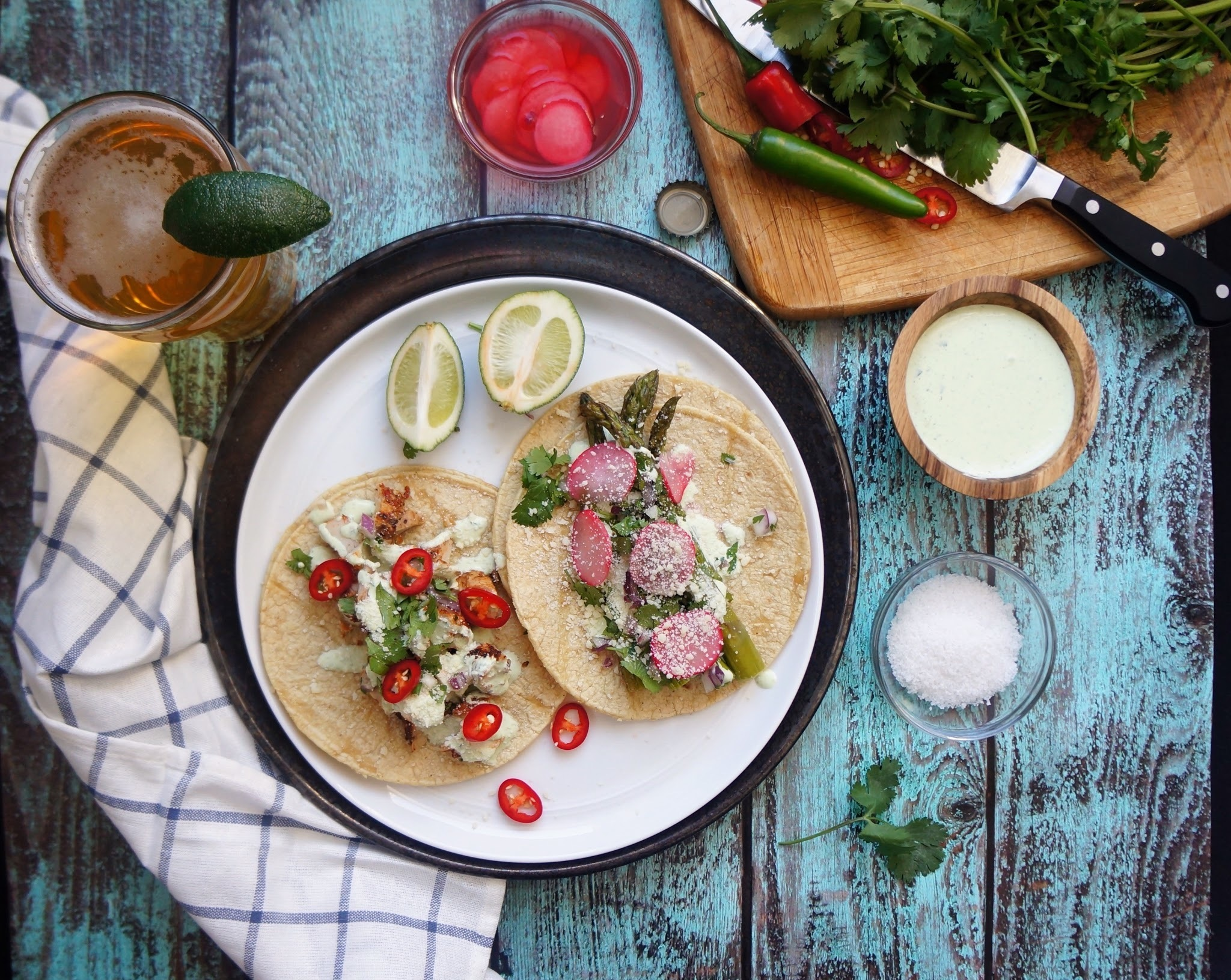 Veggie Tacos with Jalapeno and Cilantro Lime Crema