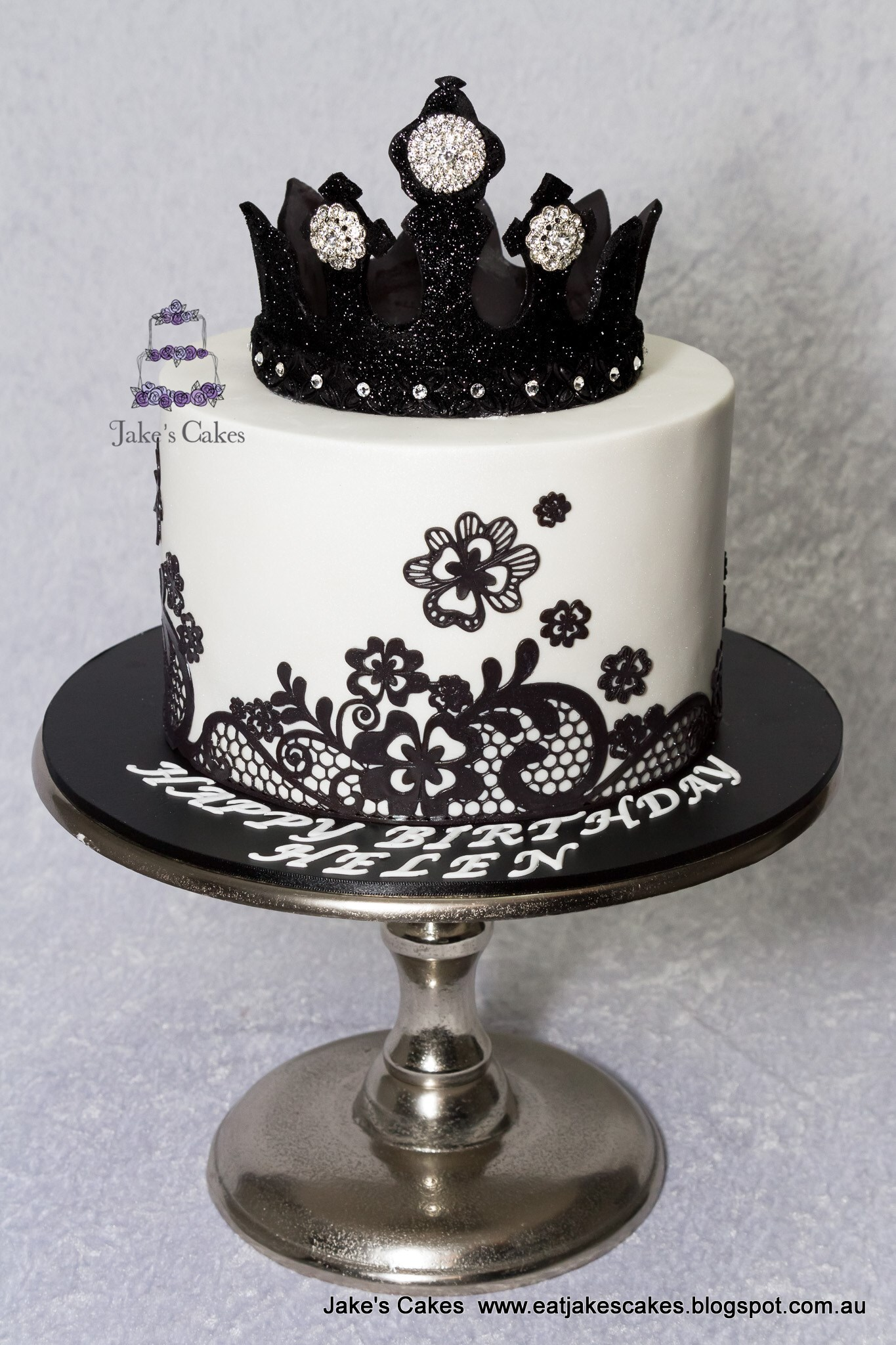 Black Bling Crown cake