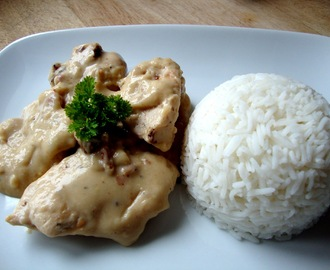 Chicken and Bacon in a creamy mushroom sauce