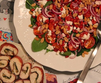 Peanut, Feta & Pomegranate Salad with Pesto Chicken