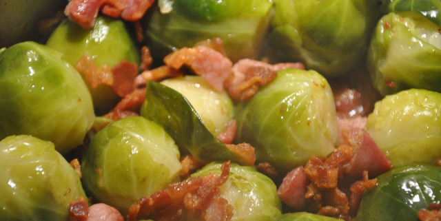 Brussels Sprouts with Bacon, White Wine and Honey
