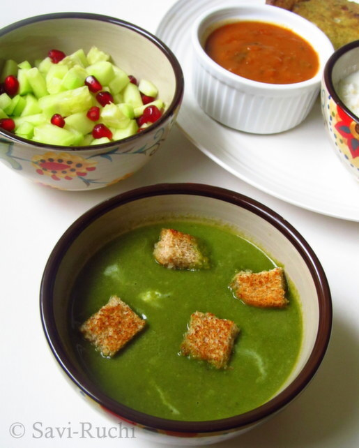 Spinach Soup | Palak Soup : Healthy Soup Recipes