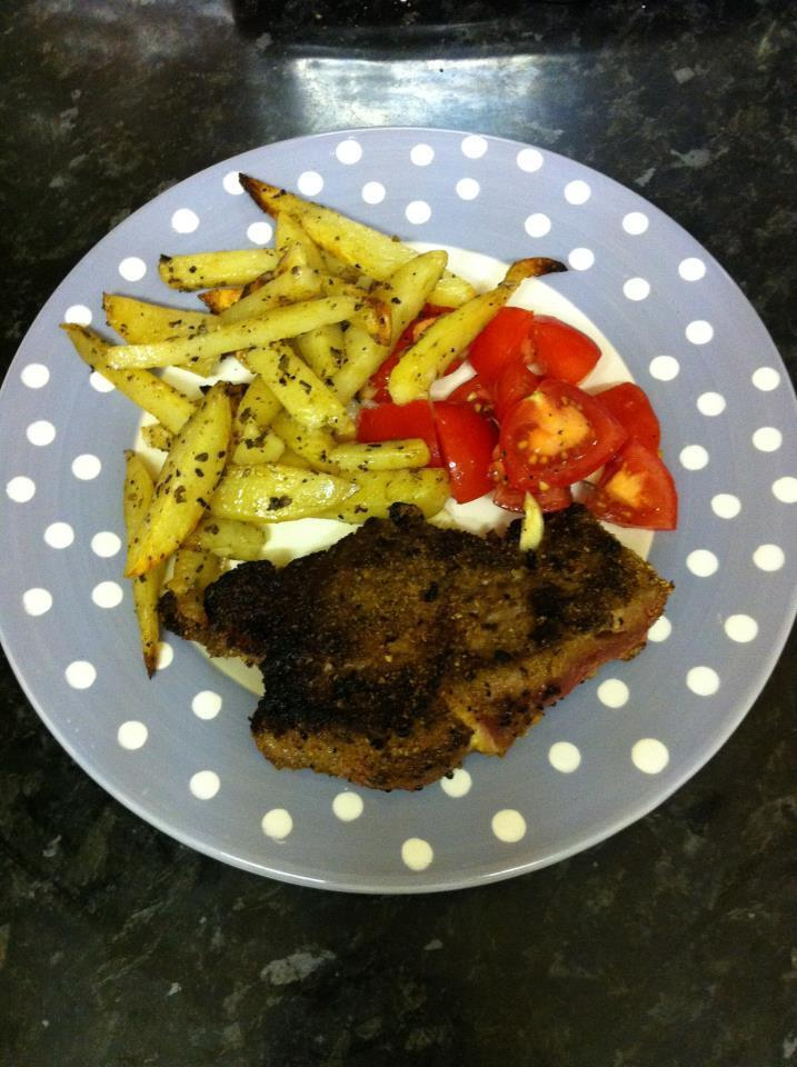Nigella's Tuscan (baked) fries with peppered steak.