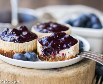 Vanilla Bean Greek Yogurt Cheesecakes with Blueberry Compote (Gluten Free + Refined Sugar Free)