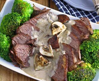 Roast Beef with cream of mushroom sauce- Filipino Style