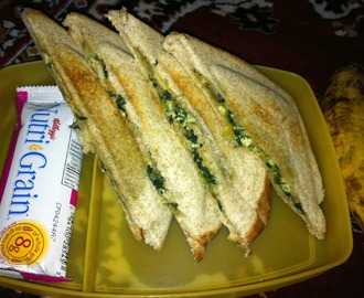 Spinach and paneer sandwich