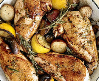 Baked Rosemary Chicken Breasts with Potatoes and Button Mushrooms