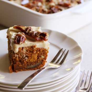 Carrot Cake with Orange Icing and Pecan Brittle