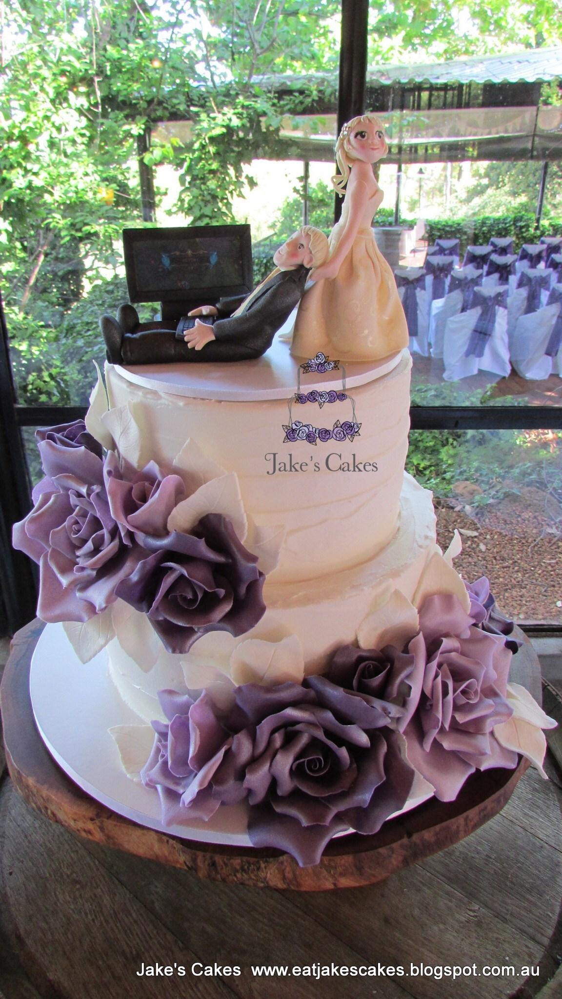 Purple Rose Rustic Wedding Cake
