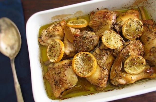 Chicken in the oven with lemon and spices