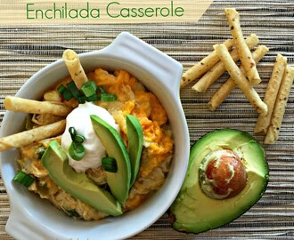 {Slow Cooker} Green Chile Chicken Enchilada Casserole