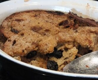 Spiced bread and butter pudding - dairy and gluten free