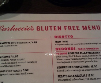 Carluccio's - I have forgotten how to make menu choices! Lots of gold stars