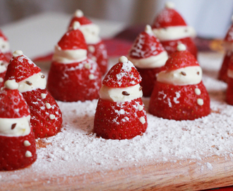 strawberries and cream, Santa style